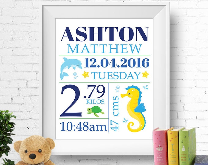 Birth stats print, wall art, birth announcement poster, birth details, customised, ocean, sea, seahorse, dolphin, turtle, boy, digital