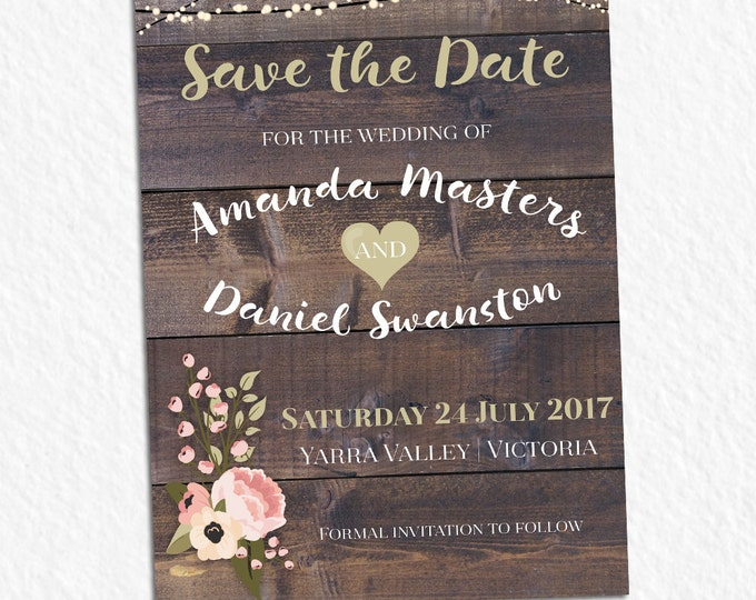 Rustic invitation, customised for any occasion - birthday party, bridal or baby shower, save the date, wedding, digital printable