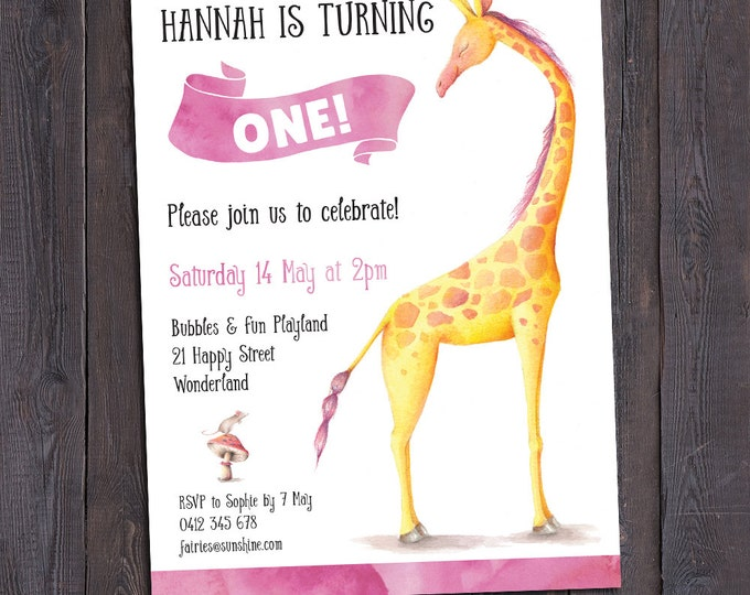 Giraffe birthday invitation, girl digital printable invitation, 1st, 2nd, any age child, customised, giraffe invitation, watercolour