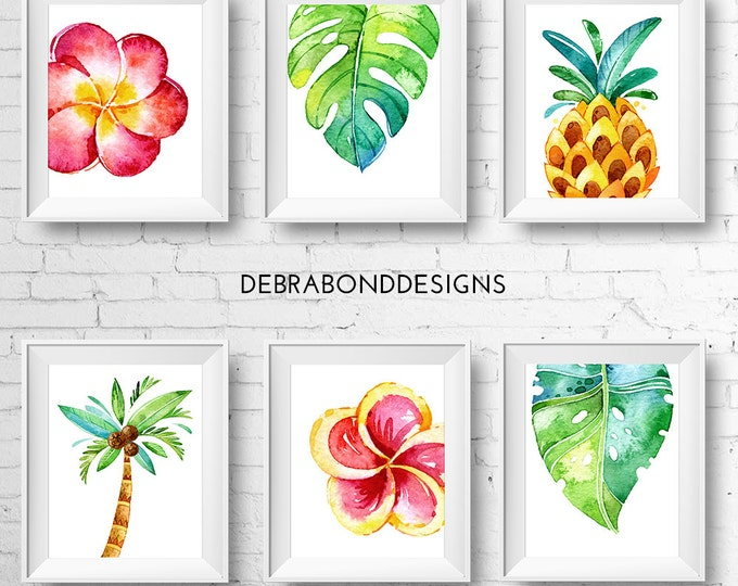 Tropical prints, set of 6, instant download, digital printable wall art, watercolour pineapple, palm tree, monstera, frangipani