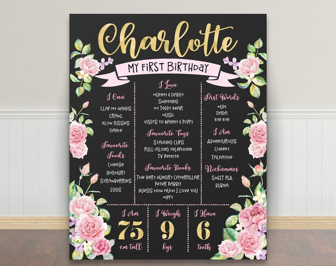 First birthday poster sign milestone board, roses pink gold, chalkboard poster, 1st birthday, flowers, milestone poster, girl