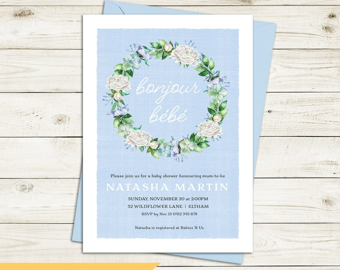 Baby shower invitation, french bonjour bebe, floral wreath, pale blue background, boy, neutral, twins, customised digital printable