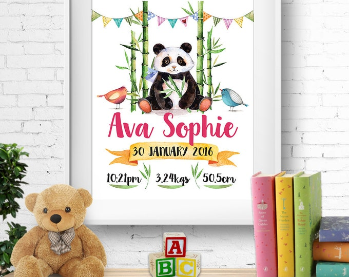 Birth stats print, wall art, birth announcement poster, birth details, customised, cute panda, birds, bamboo, baby girl, digital printable