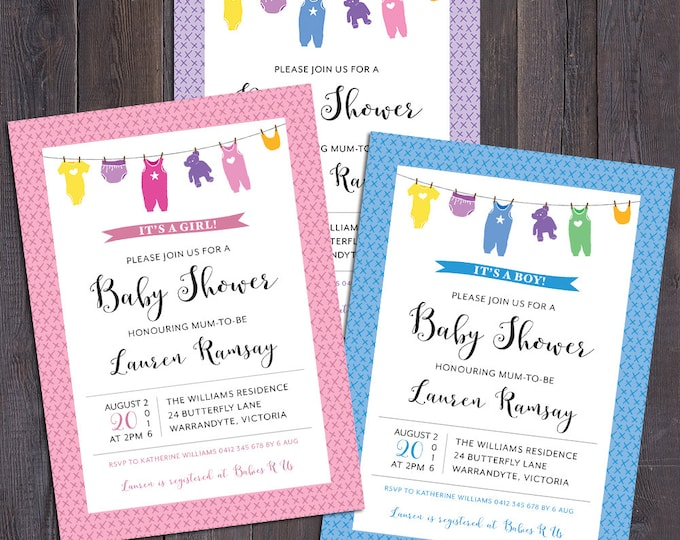 Baby shower invitation, clothes line, onesie, baby clothes invitation, girl, boy, neutral, pink, blue, purple, customised digital printable