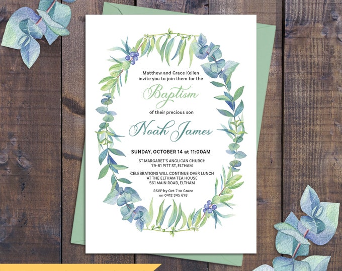 Christening invitation, Baptism invitation, naming invitation, boy or girl, watercolour leaves, green and blue tones, digital printable