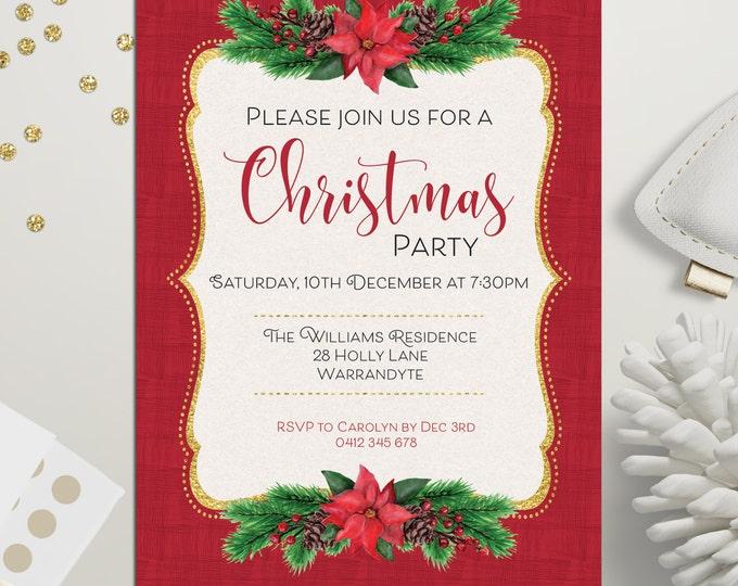 Christmas invitation, Christmas party invitation, Xmas holiday card, Xmas invitation, poinsettia, pine cones, fir tree, gold and red