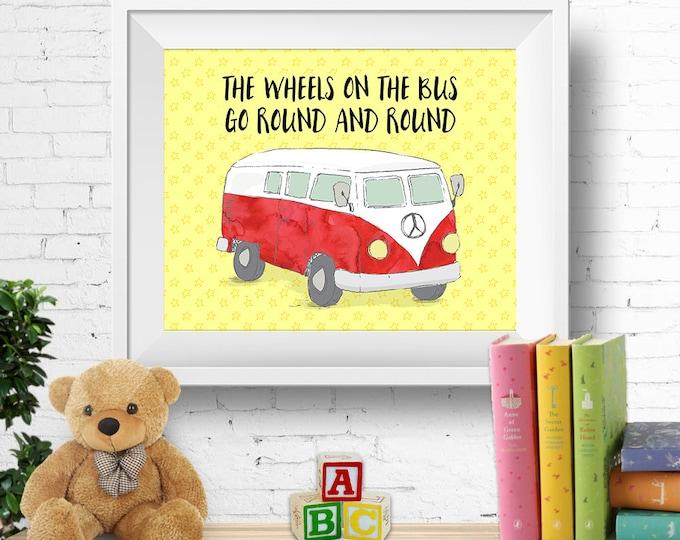 """Printable nursery wall art, """"the wheels on the bus"""", VW kombi van, vw bus, red, nursery rhyme, 8x10 inches, INSTANT DOWNLOAD"""