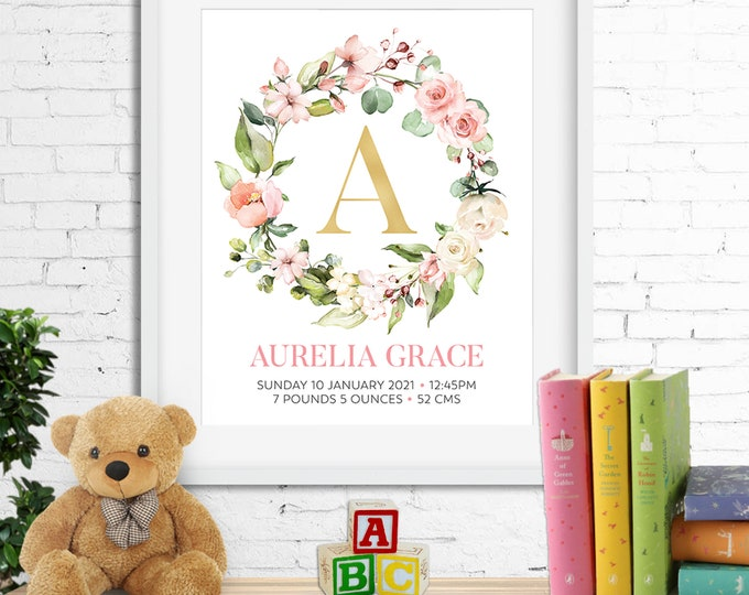 Birth stats print, wall art, birth announcement poster, floral wreath roses watercolour personalised customised baby girl pastels digital