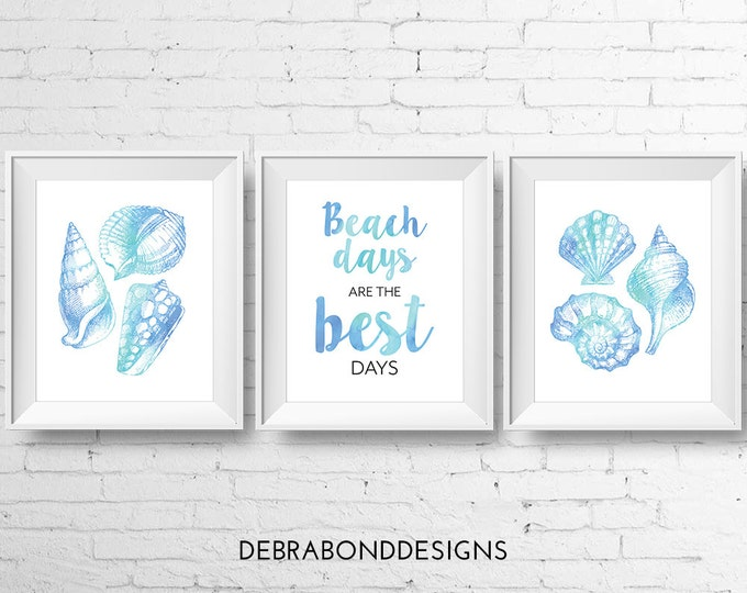 Beach days are the best days, set of 3 prints, instant download, digital printable wall art, shells, watercolour, beach theme
