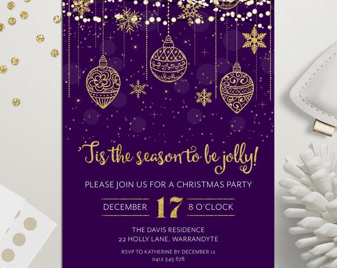 Christmas party invitation, Xmas holiday digital printable, Christmas invitation,  gold & purple, fairy lights, snowflakes, ornaments, stars