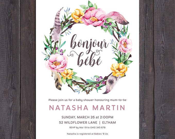 Baby shower invitation, french bonjour bebe, bonjour baby, hello baby, floral wreath, feathers, boho, sip and see, digital printable