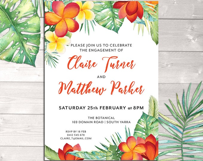 Tropical invitation, orange flowers, for any occasion - engagement, bridal or baby shower, save the date, luau, wedding, digital printable