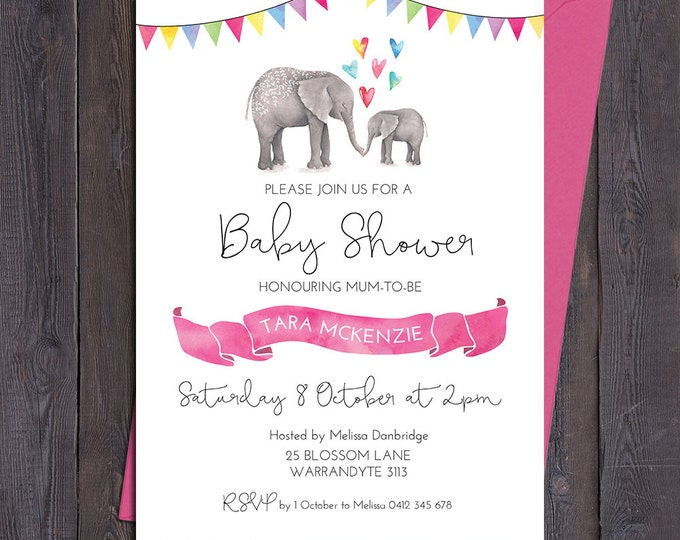 Baby shower invitation, elephant invitation, boy, girl, twins, 5 different colours, hearts, watercolour ribbon, customised digital printable