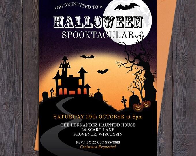 Halloween invitation, customised party invitation, spooky invitation spooktacular haunted house digital printable