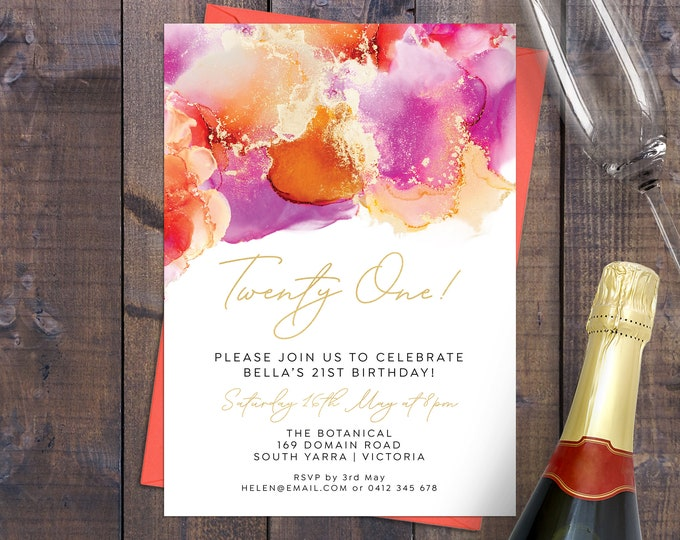 Birthday invitation gold pink orange ink 18th birthday, 21st birthday, any age, 30th, 40th 50th 60th 70th, digital printable