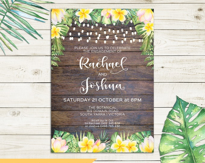 Tropical invitation, rustic invitation, engagement invitation, wedding, string lights, frangipani plumeria watercolour palm leaves printable