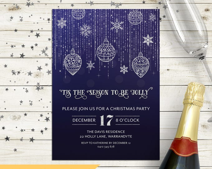 Christmas party invitation, Xmas holiday digital printable, Christmas invitation, blue and silver, fairy lights, string lights, stars