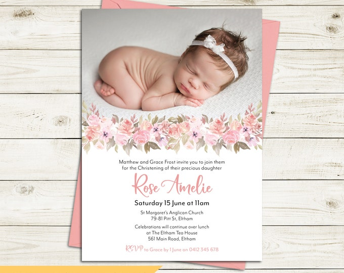 Christening invitation, Baptism invitation, naming invitation, girl, photo & pretty peach watercolour flowers, digital customised printable