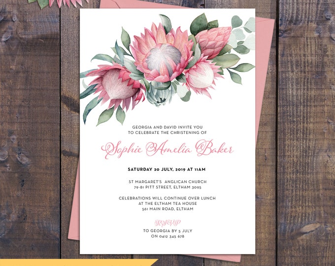 Christening invitation girl, baptism invitation girl, naming, Australian, watercolour proteas, eucalyptus pink, digital customised printable