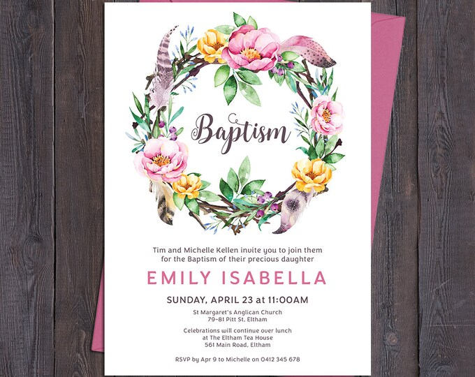 Christening invitation, baptism invitation, naming invitation, girl, watercolour flower & feathers wreath, boho digital customised printable