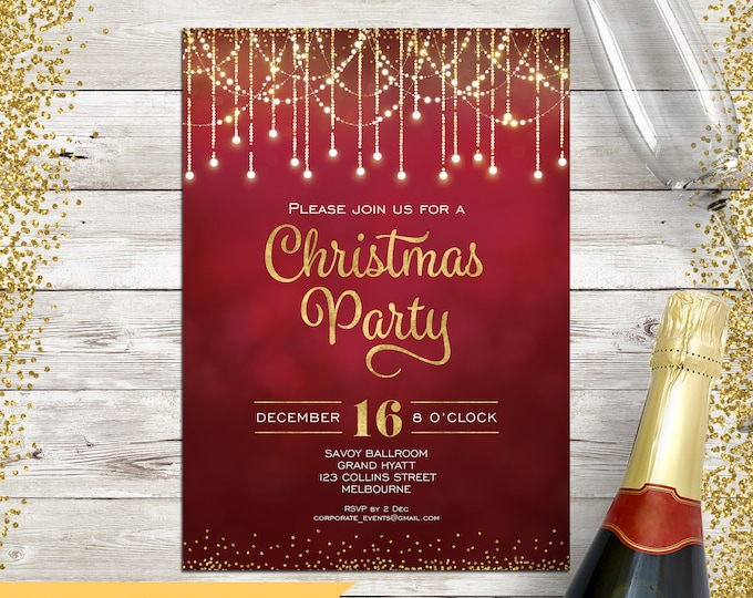 Christmas invitation, Christmas party invitation, Xmas holiday digital printable, gold and red, fairy lights, string lights, confetti