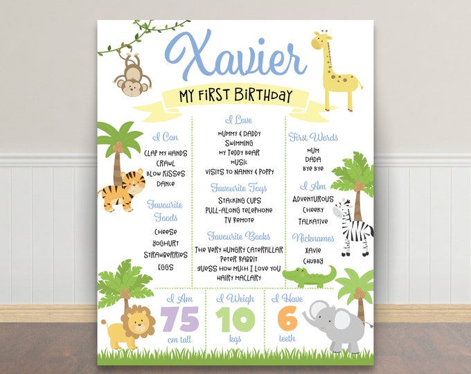 First birthday poster sign milestone board jungle poster, chalkboard poster, 1st birthday first birthday sign, milestone poster, boy