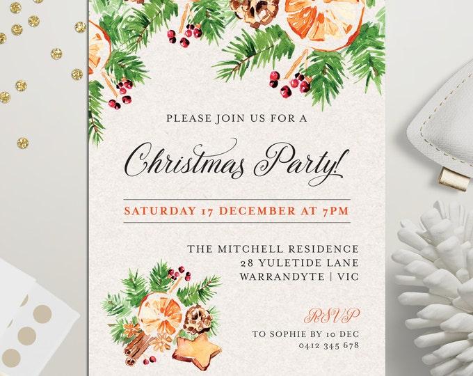 Christmas party invitation, Xmas holiday card, digital printable, Christmas invitation, pinecones, fir tree, gingerbread, orange, cinnamon
