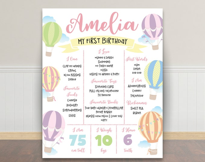 First birthday poster, first birthday sign, hot air balloons, chalkboard poster, 1st birthday, first birthday sign, milestone poster, girl