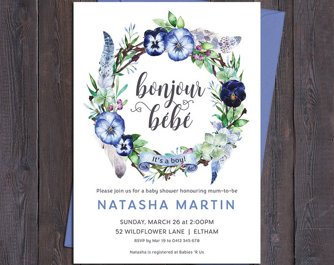 Baby shower invitation, french bonjour bebe, bonjour baby, it's a boy, floral wreath, feathers, boho, sip and see, digital printable