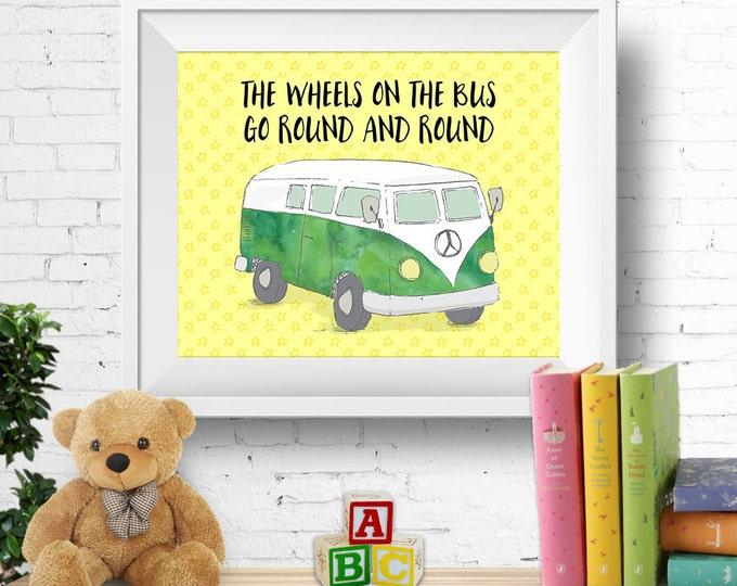 "Printable nursery wall art, ""the wheels on the bus"", VW kombi van, vw bus, watercolour green, nursery rhyme, 8x10 inches, INSTANT DOWNLOAD"