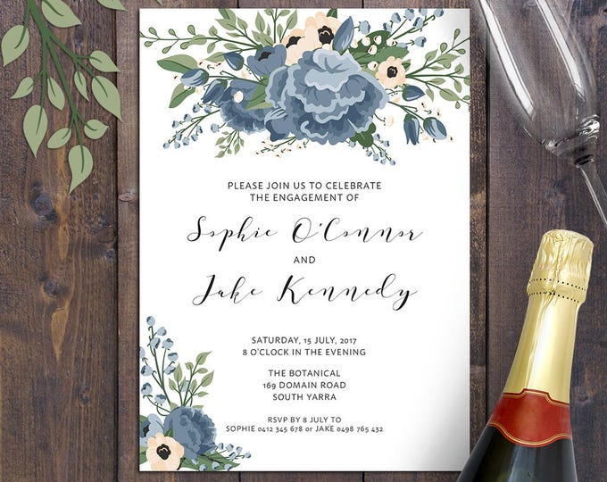 Blue floral invitation, any occasion - bridal shower, engagement, wedding, christening, baptism, digital printable, dusty blue
