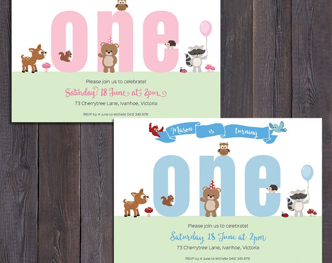 First birthday invitation, printable invitation, number any age, customised, personalised, woodland animals, boy or girl