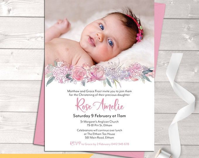 Christening invitation, Baptism invitation, naming invitation, girl, photo and pretty pink watercolour flowers, digital customised printable