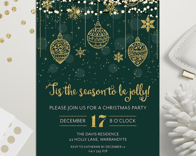 Christmas party invitation, Xmas holiday digital printable, Christmas invitation, gold and green, fairy lights, snowflakes, ornaments, stars