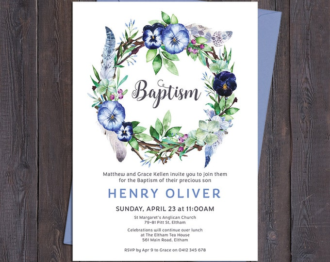 Christening invitation, Baptism invitation, naming invitation, boy, boho watercolour flower & feathers wreath, digital customised printable