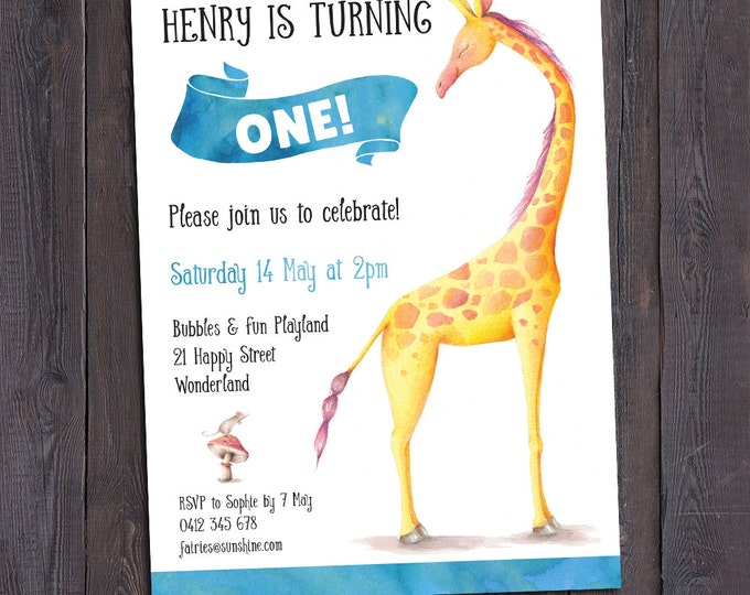 Giraffe birthday invitation boy, giraffe invitation, digital printable invitation, 1st, 2nd, any age child, personalised, watercolour