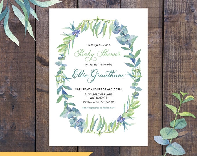 Baby shower invitation, watercolour leaves, nature, boy, girl, twins, neutral, baby shower invite, customised digital printable