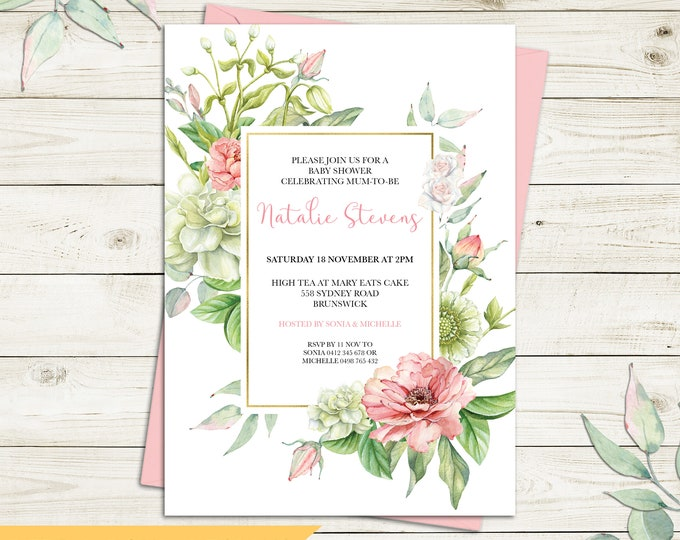 Baby shower invitation, floral invitation, watercolour flowers and leaves, botanical invitation, green white, customised digital printable