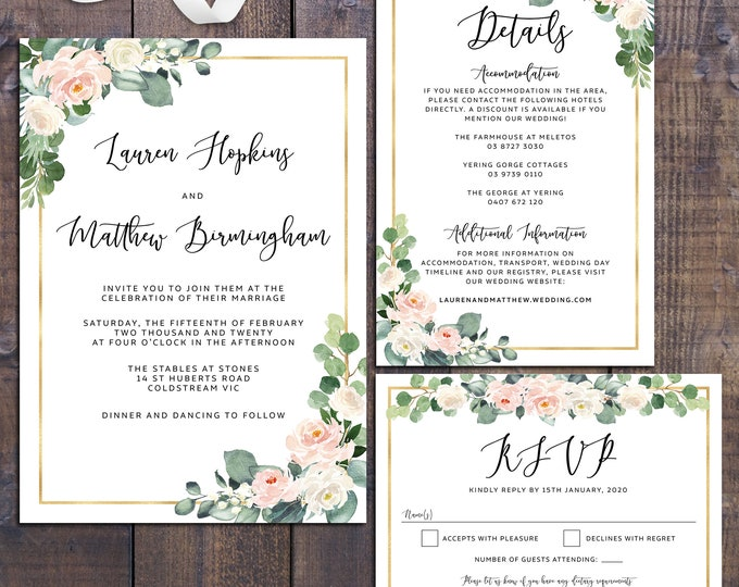 Wedding suite wedding invitation geometric eucalyptus floral gold peach roses details information card RSVP card digital printable