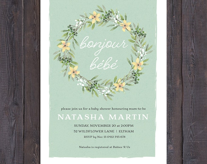 Baby shower invitation, french bonjour bebe, floral wreath, sage green, boy or girl, twins, sip and see, customised digital printable