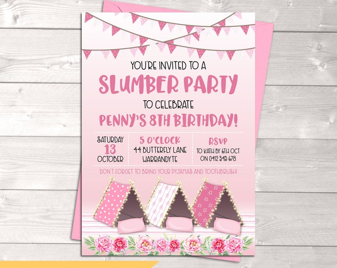 Slumber party invitation sleepover birthday invitation, girl, tents, tee pees, pyjama party, pink glamping, printable, any age