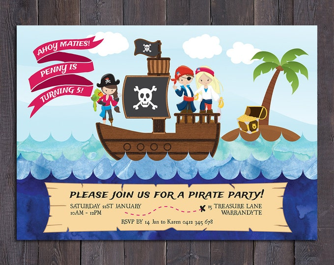 Pirate birthday invitation, girl digital printable pirate invitation, 1st, 2nd, 3rd, 4th, 5th, 6th, any age child, customised, personalised