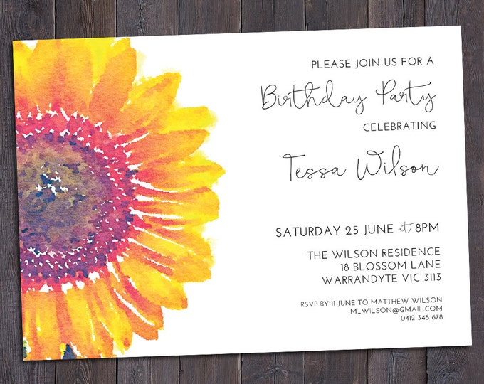 Sunflower invitation, customised for any occasion - birthday party, bridal or baby shower, save the date, wedding, digital printable