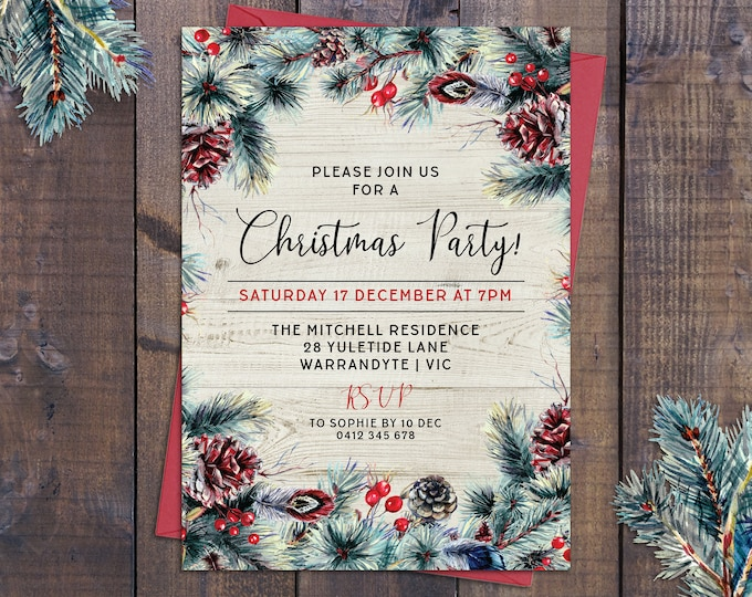 Rustic Christmas party invitation Xmas holiday card digital printable pinecones, fir tree pine branches