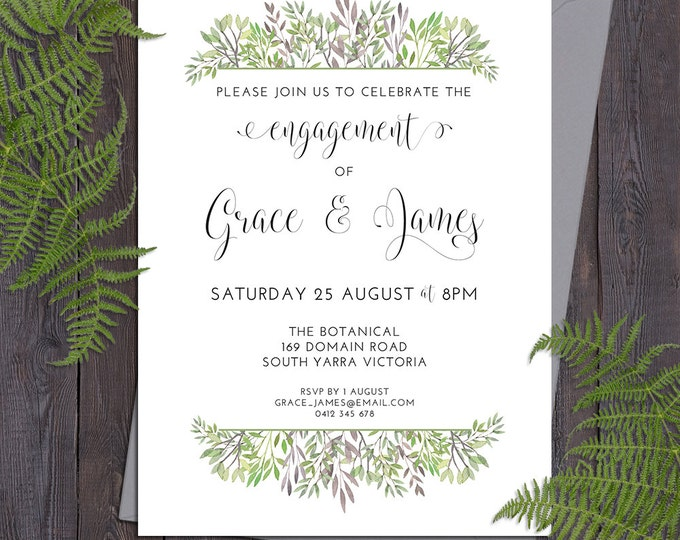 Green leaves invitation, customised for any occasion - birthday party, bridal or baby shower, save the date, wedding, digital printable