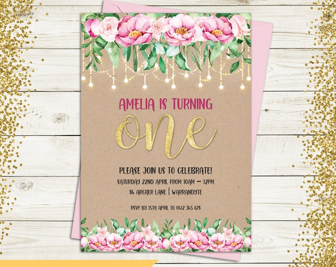 Birthday invitation, first birthday invitation, girl digital printable, 1st, 2nd, any age child, rustic, gold, pink flowers, fairy lights