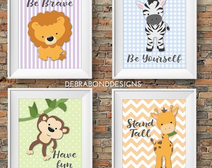 Animal nursery prints, set of 4 printable nursery art, lion, zebra, monkey, giraffe, instant download, 8x10
