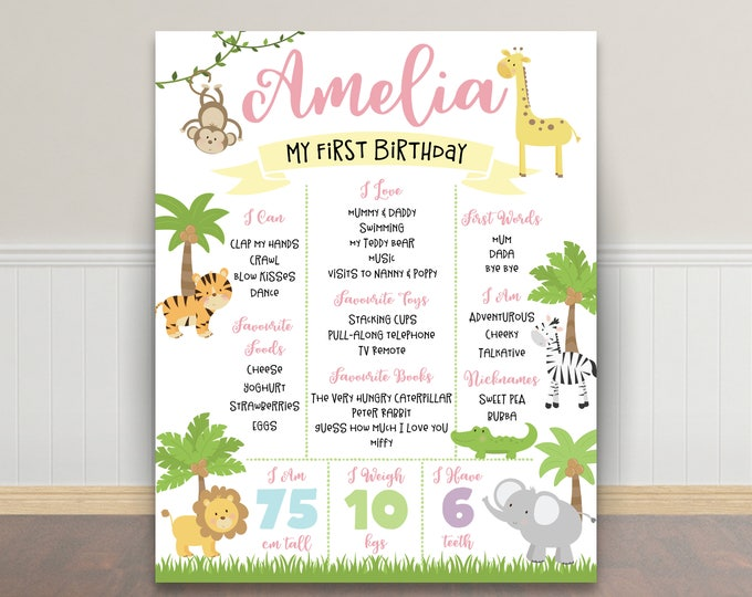 First birthday poster sign milestone board, jungle poster, chalkboard poster, 1st birthday, first birthday sign, milestone poster, girl
