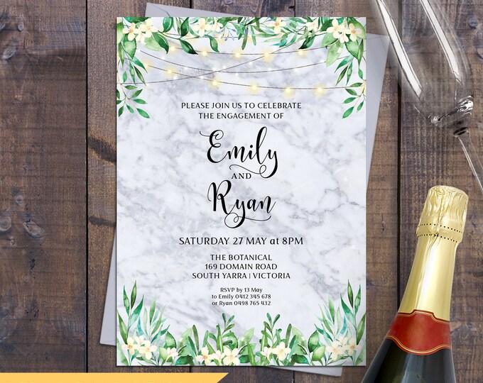 Engagement invitation, wedding invitation, marble invitations, rustic leaves greenery botanical, string lights, digital printable