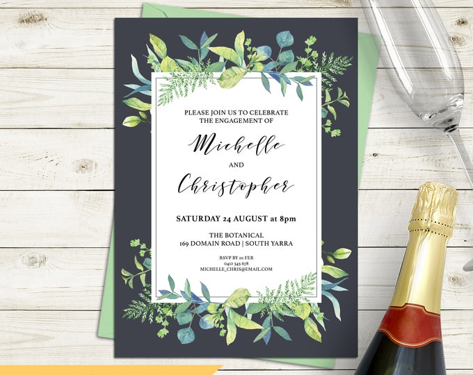Engagement invitation, wedding invitation, leaf invitation, watercolour leaves botanical, grey background, digital customised printable